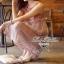 Lady Ribbon มินิเดรสแขนกุด สีชมพู อกตีเกล็ด thumbnail 4