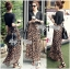 Lady Ribbon V-Neck Black Top and Leopard Pleated Maxi Skirt Set thumbnail 2