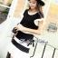 Lady Ribbon Minimal Chic Set ชุดเซ็ทเสื้อครอปและกระโปรง สีขาวดำ thumbnail 3