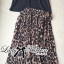 Lady Ribbon V-Neck Black Top and Leopard Pleated Maxi Skirt Set thumbnail 8