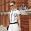 Chanel black&white line jumpsuit จั๊มสูทขายาว สีขาวดำ thumbnail 6