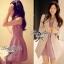 Lady Ribbon Viola Mini Dress มินิเดรสแขนกุด สีม่วง ลุคคุณหนู thumbnail 7