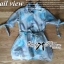Lady Ribbon Floral Printed Cotton Silk Shirt Dress in Blue thumbnail 10