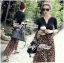 Lady Ribbon V-Neck Black Top and Leopard Pleated Maxi Skirt Set thumbnail 4