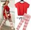 Lady Ribbon Set ชุดเซ็ทเสื้อและกางเกงพิมพ์ลายสีแดงสุดเปรี้ยว thumbnail 3