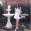 CelebStyle White Organza Dress เดรสผ้าแก้วสีขาว แต่งระบาย thumbnail 8