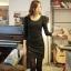 Little Black Dress by Cherry KOKO เดรส ผ้าเนื้อผสมลายตาราง แต่งกระดุมเก๋ๆ thumbnail 3