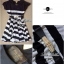 Lady Ribbon Stripe Mini Dress มินิเดรสลายขวางครีม-ดำ thumbnail 10