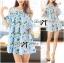 Lady Ribbon Cut-Out Flower Printed Blue Dress thumbnail 2
