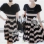 Lady Ribbon Stripe Mini Dress มินิเดรสลายขวางครีม-ดำ thumbnail 3