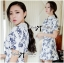 Lady Ribbon Collar Blue Floral Blooming Chinoise Dress thumbnail 2