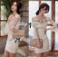 Lady Ribbon Elegant Crystal Embellished Insert Lace Dress thumbnail 4
