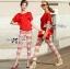 Lady Ribbon Set ชุดเซ็ทเสื้อและกางเกงพิมพ์ลายสีแดงสุดเปรี้ยว thumbnail 4