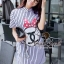 Stripy CC Bow Print Dress Shirt by Seoul Secret thumbnail 7