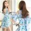 Lady Ribbon Cut-Out Flower Printed Blue Dress thumbnail 4