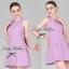 Lady Ribbon Viola Mini Dress มินิเดรสแขนกุด สีม่วง ลุคคุณหนู thumbnail 9