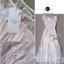 Lady Ribbon Vintage Dress แม็กซี่เดรสผ้าซิลค์ซาตินผสมผ้าลูกไม้ สีชมพู สีครีม thumbnail 12