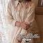 Lady Ribbon เชิ้ตเดรส แต่งผ้าแก้วลายดอกไม้ ขาว ดำ กรมท่า ครีม thumbnail 2