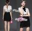 Lady Ribbon Collared Color-Block Lace Dress thumbnail 10