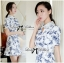 Lady Ribbon Collar Blue Floral Blooming Chinoise Dress thumbnail 4