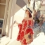 Seoul Secret เสื้อตัวยาวเปิดไหล่แขนสี่ส่วน ผ้าตาข่ายพิมพ์ลายนูน thumbnail 8