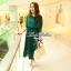 Lady Ribbon เดรสยาวผ้าชีฟองสีเขียวหัวเป็ด กระโปรงพลีท thumbnail 1