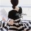 Lady Ribbon Stripe Mini Dress มินิเดรสลายขวางครีม-ดำ thumbnail 6