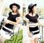 Lady Ribbon Minimal Chic Set ชุดเซ็ทเสื้อครอปและกระโปรง สีขาวดำ thumbnail 4