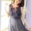 Tokyo Fashion มินิเดรส ผ้าชีฟอง สีน้ำเงิน อกเสื้อแต่งโบว์และระบายอัดพลีท thumbnail 2