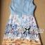 Lady Ribbon Roman Print Dress in Baby Blue thumbnail 8