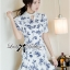 Lady Ribbon Collar Blue Floral Blooming Chinoise Dress thumbnail 1