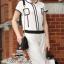 Chanel black&white line jumpsuit จั๊มสูทขายาว สีขาวดำ thumbnail 7