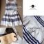 Lady Ribbon Stripe Mini Dress มินิเดรสลายขวางขาว-ดำ thumbnail 11