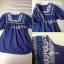 Lady Ribbon เสื้อตัวยาวปักครอสติส แขนตุ๊กตา สีขาว สีกรมท่า thumbnail 13