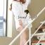 Seoul Secret เสื้อเชิ้ตตัวยาว ผ้าคอตตอนตัดต่อผ้าลูกไม้สีขาว thumbnail 1