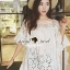 Seoul Secret Bell Sleeve Ivory Lace Net Tops on Long Blouse thumbnail 1