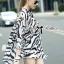 Lady Ribbon Zebra Camouflage Printed Shirt Dress thumbnail 4