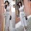 Lady Ribbon แมกซี่ชีฟอง ดีเทลกระโปรงพลีต เอว elastic สีเทา thumbnail 7