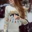 Cherry Dress Sweater สีเบจ ผ้าไหมพรมเนื้อดี ปักแปะลายด้านหน้า และแขนเสื้อ thumbnail 2