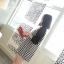 ชุดเดรสสั้น ผ้าชีฟองเนื้อผสม พิมพ์ลายชิโนริ สีขาวดำ thumbnail 7