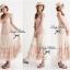 Lady Ribbon Vintage Dress แม็กซี่เดรสผ้าซิลค์ซาตินผสมผ้าลูกไม้ สีชมพู สีครีม thumbnail 6