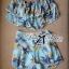 Lady Ribbon ชุดเซ็ทเสื้อเปิดไหล่และกางเกงเอวสูง สีชมพู สีฟ้า thumbnail 14