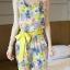 จั๊มสูทขายาว ผ้าชีฟองลายดอกไม้ มีผ้าผูกโบว์ สีเขียว / สีชมพู thumbnail 4
