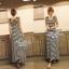 Lady Ribbon Striped Maxi Dress เดรสยาวแขนกุด ลายทางทรงบอดี้คอน thumbnail 10