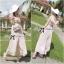 Lady Ribbon จั๊มสูทขายาว ผ้าคอตตอนซิลค์ หลังไขว้ สีชมพู สีเทา thumbnail 2