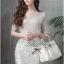 Lady Ribbon Glitter Lace Dress เดรสแขนสั้นผ้าลูกไม้ผสมกลิตเตอร์ thumbnail 1