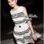Lady Ribbon Stripe Mini Dress มินิเดรสลายขวางขาว-ดำ thumbnail 5