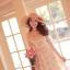 Ice Vanilla Princess Dress เดรสชีฟองแต่งผ้าลูกไม้ ลายดอกสีหวาน thumbnail 6