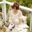 เดรสผ้าชีฟอง ตัดต่อผ้าแก้วปักไหมพรมลายดอกไม้ เปิดเว้าช่วงไหล่ thumbnail 4
