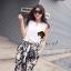 Seoul Secret ชุดเซ็ทเสื้อ กางเกงขายาวลายดอกซากุระ thumbnail 5
